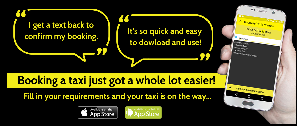 Booking a taxi just got a whole lot easier! Click on the banner to find out more about the NEW Courtesy Taxis app | Image of a hand holding a phone with the Courtesy Taxis App | Courtesy Taxis, Norwich
