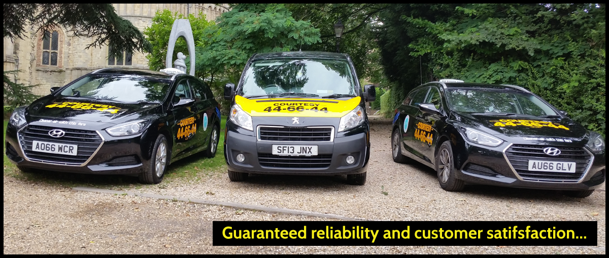 Vehicles header - Guaranteed reliability and customer satisfaction... | Image of three Courtesy Taxi vehicles: Hyundai i40 and wheelchair-friendly travel liner | Courtesy Taxis, Norwich